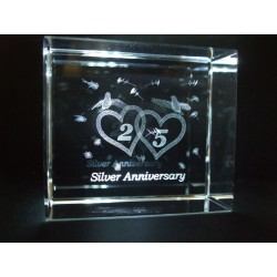 Silver 25th Anniversary Celebration Crystal Images Laser Creation