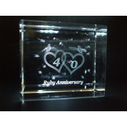 Ruby 40th Anniversary Celebration Crystal Images Laser Creation