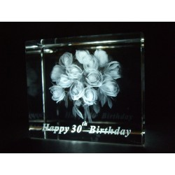 Happy 30th Birthday Celebration Roses Crystal Images Laser Creation