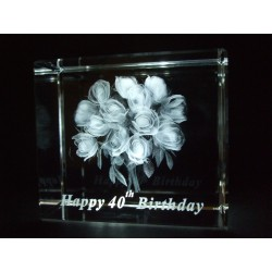 Happy 40th Birthday Celebration Roses Crystal Images Laser Creation