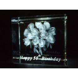 Happy 50th Birthday Celebration Roses Crystal Images Laser Creation