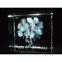 Happy 60th Birthday Celebration Roses Crystal Images Laser Creation