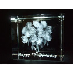 Happy 70th Birthday Celebration Roses Crystal Images Laser Creation