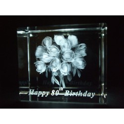 Happy 80th Birthday Celebration Roses Crystal Images Laser Creation
