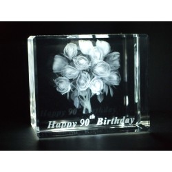Happy 90th Birthday Celebration Roses Crystal Images Laser Creation